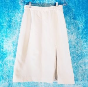 VTG 80s Panther Cream Midi Skirt with Front Slit